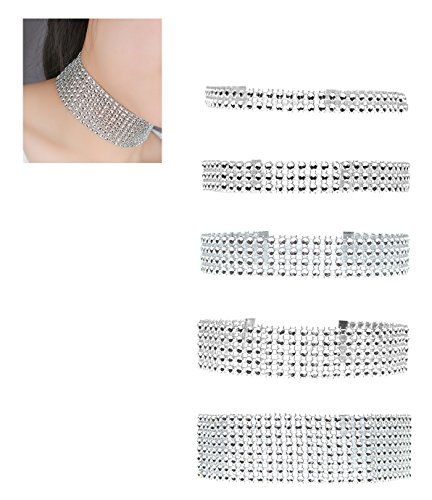 Zealmer 2-8Row Thick Wide Clear Rhinestone Crystal Choker Necklace Diamond for Women Set 5 (Forever 21 Gold Necklace)