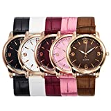 Top Plaza Classic Simple Style Arabic Numerals Dial Bamboo PU Leather Band Dress Analog Quatz Wrist Watch Rose Golden Case Elegant Business Watches for Womens Ladies