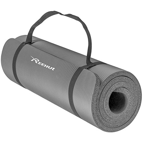 Reehut 1/2-Inch Extra Thick High Density NBR Exercise Yoga Mat for Pilates, Fitness & Workout w/ Carrying Strap (Grey)