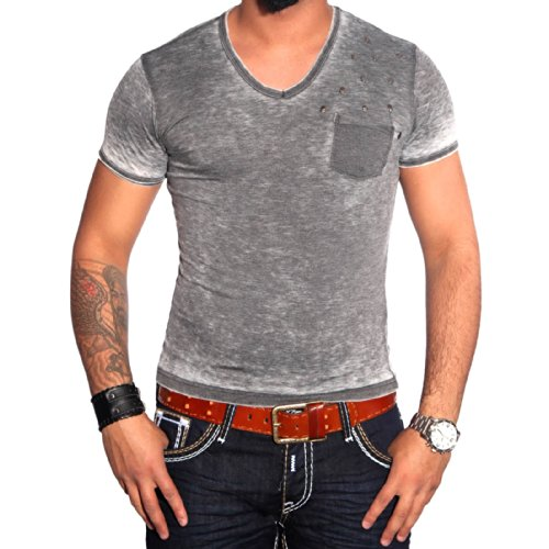 R-NEAL Clubwear Kurzarm Herren Nieten T-Shirt Washed Optik Shirt RTN-16711 NEU, Größe:XXL, Farbe:Grau