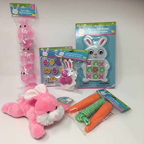 Easter Basket Stuffers - Bundle of Six Items - Stuffed Bunny, Jump Rope, Erasers,Tic Tac Toe Game, Bunny Ball Shooter, and Filllable Eggs (Ball Tic Toe Tac)