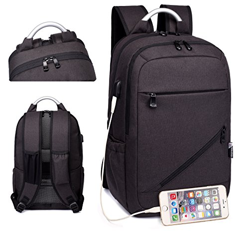 Price comparison product image E-Zoned Waterproof Slim Lightweight Backpack Casual Travel Backpack for Schooling Working Unisex Business Laptop Backpack School Sports Backpack With USB Charging Port Fits 13-15inch Laptop (Black)
