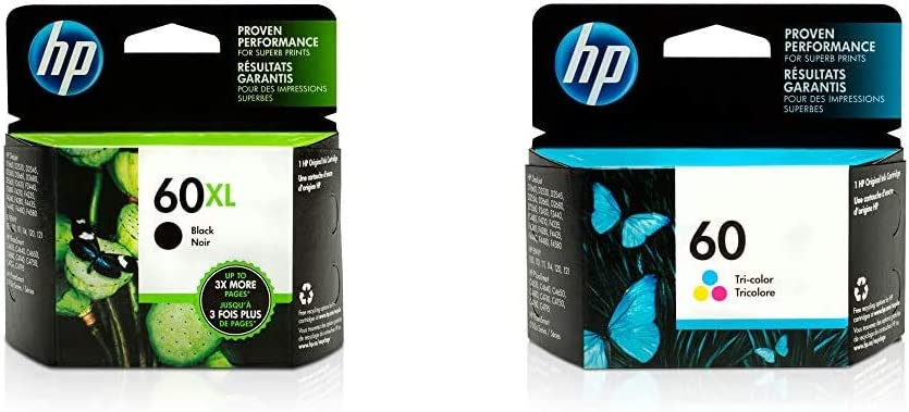 HP 60XL | Ink Cartridge | Black | CC641WN & 60 | Ink Cartridge | Tri-Color | CC643WN