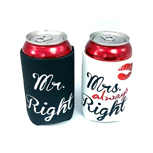 Mr. Right and Mrs. Always Right Wedding Can and Bottle Coolers, Neoprene Coolies for Cans, (2 Pack)
