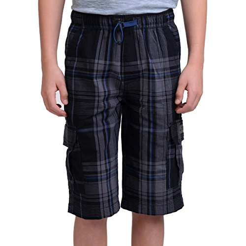 Cargo Plaid Black - UNIONBAY Boys' 100% Cotton Cargo Short with Pull On, Elastic Waist (14, Black Plaid)