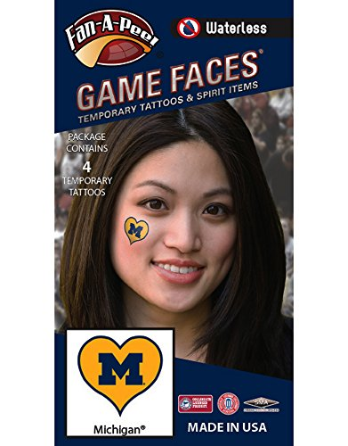 Price comparison product image NCAA Michigan Wolverines 4-Pack I Love My U Temporary Tattoos