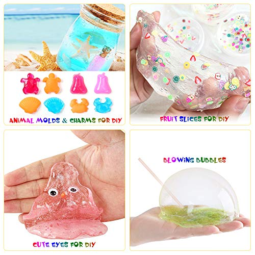 Slime Kit, 135 Pack Slime Making Kit 30 Crystal Slime, Glitter Jars, Charms, Sugar Paper, Foam Beads, Fishbowl Beads, Toy Cups, Slices, Air Dry Clay and Tools for Kids Girls by WINLIP by WINLIP (Image #4)