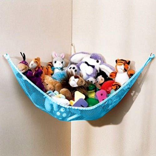 Dozenegg Stuffed Animal & Toy Organizer Hammock Pet Net, Blue Net and Trim