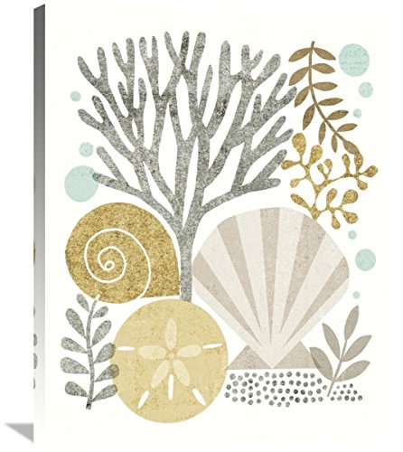 Global Gallery Michael Mullan, Under Sea Treasures V Gold Neutral' Stretched Canvas Artwork, 28 x 35 by Global Gallery