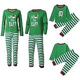Kehen Christmas Family Matching Pajama, Green and White Striped Elf Pajama Holiday Pj Sets