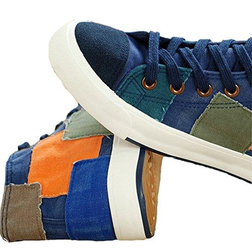Mfairy Fashion Women Lace Up Sneakers Outdoor High Top Casual Scarpe Di Tela Blu