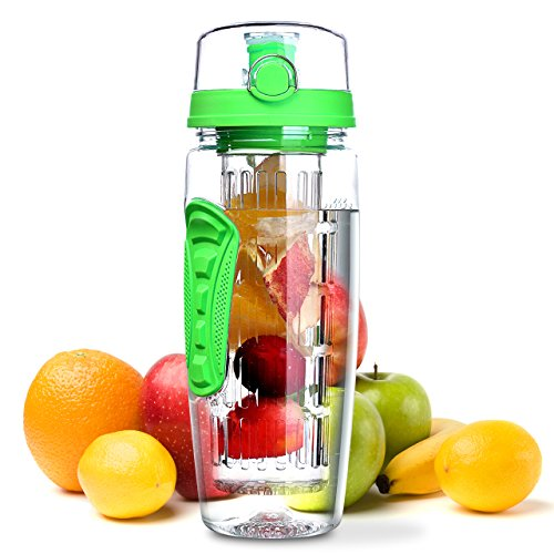 OMORC 32 OZ Sport Fruit Infuser Water Bottle, Flip Top Lid & Dual Anti-Slip Grips, BPA Free Infuser Water Bottle, Free Recipes and A Cleaning Brush Gifts, Ideal for Your Office and Home (Light Green)
