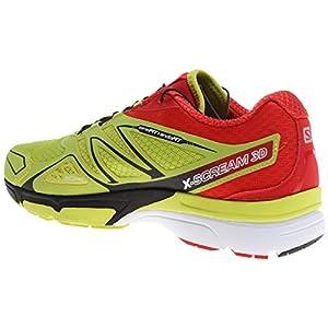 Salomon Men's X Scream 3D Running Shoe, Gecko Green/Bright Red/Black, 11.5 M US