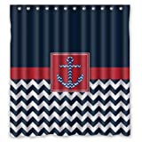 """Generic Personalized White Navy Chevron Anchor Icon Design Pattern Sold By Too Amazing Shower Curtain Bath Decor Curtain 66 """" x 72 """""""