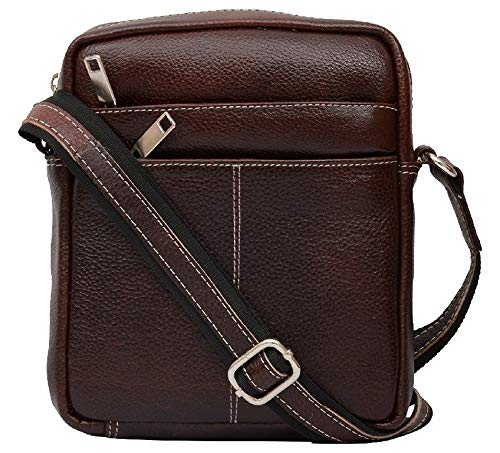 (HiLEDER 100% Pure Genuine Leather Utility 7 inch Travel Office Ipad Tab Bag, Dark Brown)