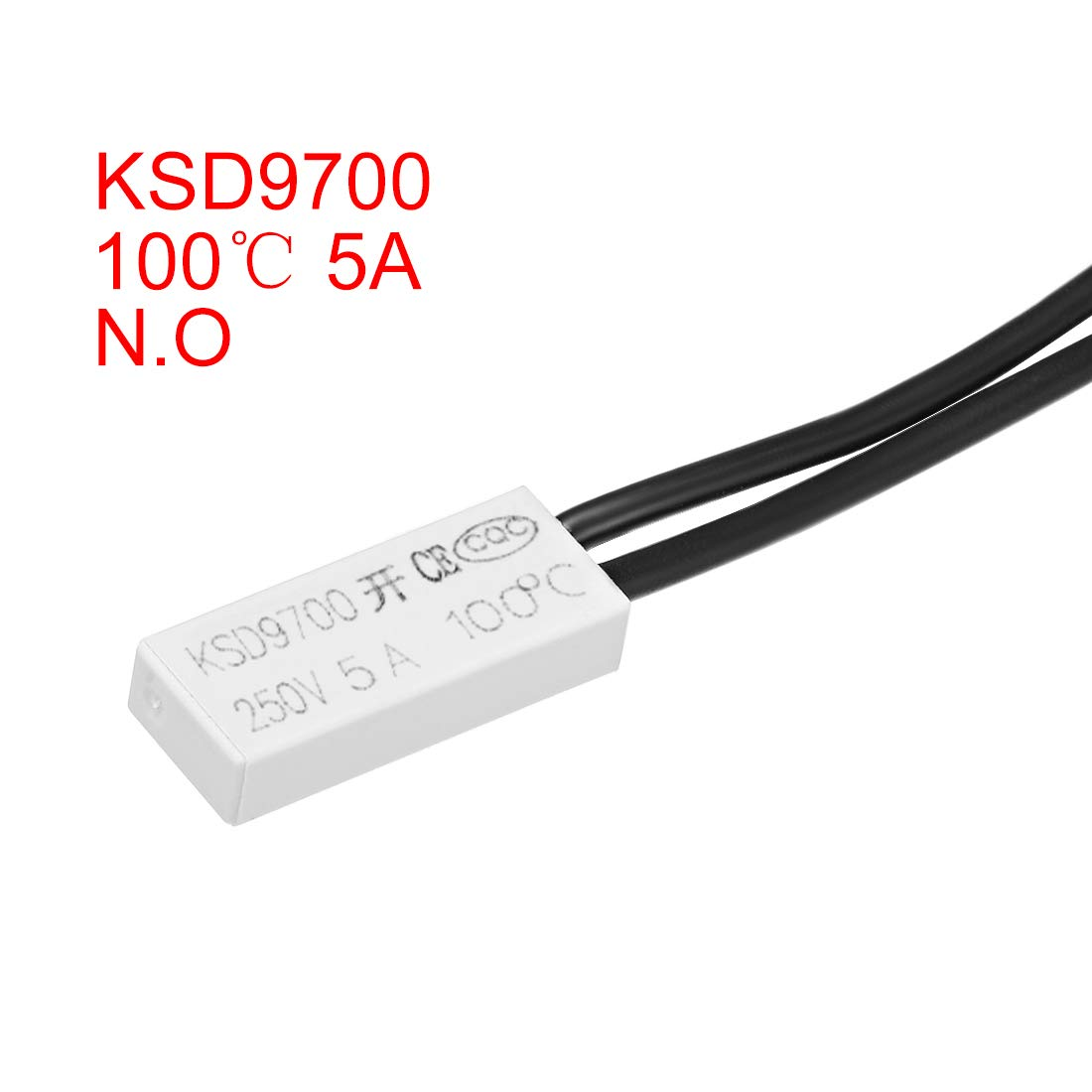 uxcell KSD9700 Thermostat 100℃ Normally Open Temperature Switch N.O 5A Thermal Switch Bimetal Temperature Controller 2pcs