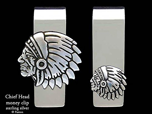 Chief Head Money Clip in Solid Sterling Silver Hand Carved, Cast & Fabricated by Paxton by Paxton Jewelry