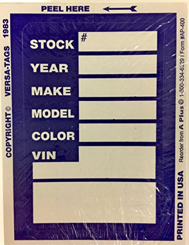 Dealer Stock Sticker Kleer-Bak Versa Tag, Blue, Quantity 500 (F11) from A Plus