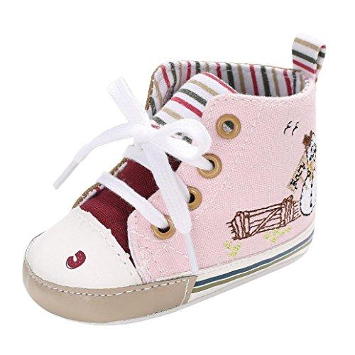 BZLine® Baby Mädchen Jungen Leinwand Weiche Sohle Kleinkind Schuhe Pink