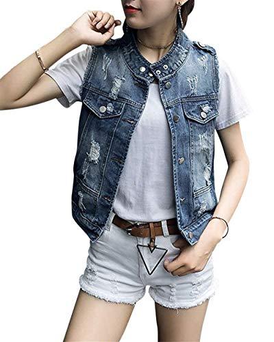 Cute Donna Sleeveless Grazioso Gilet Moda Strappato Button Autunno Festiva Primaverile Giacca Fit Blau Elegante Chic Cappotto Giovane Slim Di Jeans vXrvwSPxq