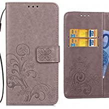 For Wiko Lenny3 Max Case, Ougger Lucky Leaf Printing Flip Wallet Cover Premium Leather Case Bumper Card Slot Pouch Magnetic Holster Stand-View Function (Gray)