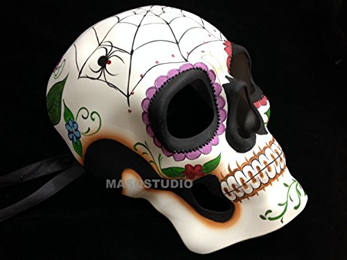 Halloween Masquerade skull Skeleton Mask Day of the Dead Wear or Deco (Spider)]()