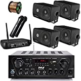 Pyle Wireless Bluetooth Stereo Receiver Amplifier, Dual Channel VHF Wireless Microphone System, 4x Pyle 3.5 200 Watt 3-Way Weather Proof Box Speakers - Black, 50Ft Speaker Wire - PA , Karaoke , DJ