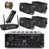 Pyle Wireless Bluetooth Stereo Receiver Amplifier, Dual Channel VHF Wireless Microphone System, 4x Pyle 3.5'' 200 Watt 3-Way Weather Proof Box Speakers - Black, 50Ft Speaker Wire - PA , Karaoke , DJ