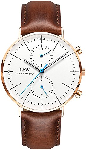 Men's Luxury Leather Strap Ultra Thin Sapphire Mirror Luminous Dual Time Zone Waterproof Quartz Watches (Brown-Gold)
