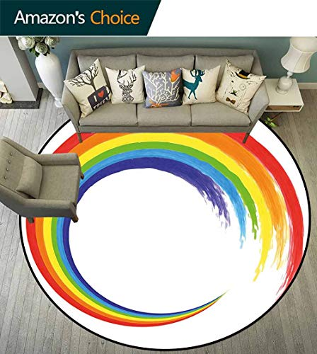 (Rainbow Round Carpet for Living Room,Watercolor Brush Stroke Rainbow Circle Acrylic Looking Pattern Hand Drawn Artwrok Non Slip Absorbent,Multicolor,D-63)