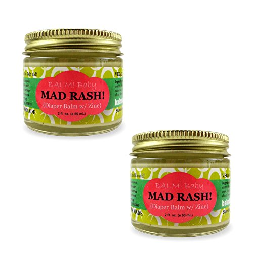 BALM! Baby MAD Rash Natural Diaper Balm Skin Aid with ZINC (2oz/60mL) Pack of 2