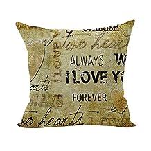 Nunubee Cotton Linen Simple Pattern Home Square Pillow Decor Throw Pillow Case Sofa Cushion Cover Words 4