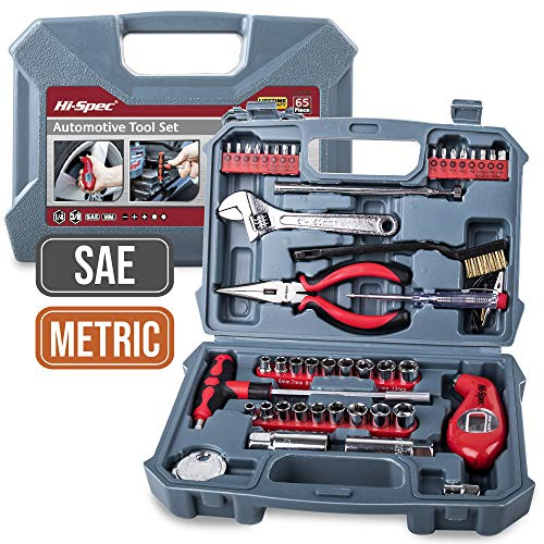Hi-Spec 65 Piece Motor Car Bike Engine Auto DIY Repair Tool Kit Set. Hand Tools, SAE & Metric Sockets & More in a Carry Case