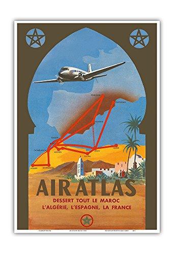 Air Atlas   Dessert Tout Le Maroc  L Algerie  L Espagne  La France  Services All Of Morocco  Algeria  Spain  France    Vintage Airline Travel Poster By Renluc C 1950   Master Art Print   13In X 19In