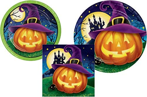 Halloween Party Supply Pack - October Eve Design: Bundle Includes Paper Plates and Napkins for 8