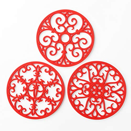 Silicone Trivet Mat - Non-Slip & Heat Resistant Kitchen Hot Pads for Countertops & Table - Kitchen Trivets for Hot Dishes & Cookware - Hot Pot Holder for Pots & Pans - Scarlet Red,Set of 3