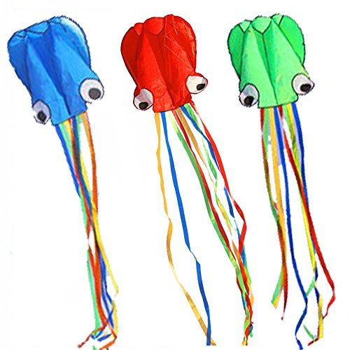 BeMax Pack 3 colors Beautiful Kites Soft Octopus Large Size Kite easy flyer - Blue Green Red with Long RainBow Tails by BeMax