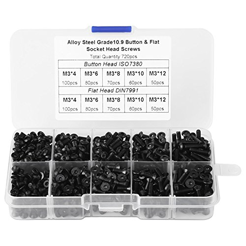 - 720PCS M3 Screw Set 4mm 6mm 8mm 10mm 12mm Black Alloy Steel Button&Flat Head Hex Socket Screws with Plastic Box