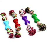BECKY,1/2/3 pcs 11.81.9''Chew Rope with Rubber Bone Toys for Dogs Puppies with Strong Play Ball for Tug of War - Best for Larde Medium Breeds Golden Retriever,Samoyed Molar Toy