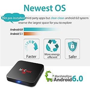 QacQoc M9C max Android 6.0 Marshmallow TV Box New Amlogic S905X Chipset [2G DDR3/16G eMMC] 4K Smart Box Unlocked 2.4G WIFI Media Player (M9C max)