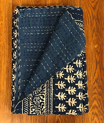 Indigo Blue & White Kantha Throw, LittleTree Handblock Printed, Handmade Multipurpose Throw, Twin single Bed Quilt, Indian Cotton, Christmas Gifts