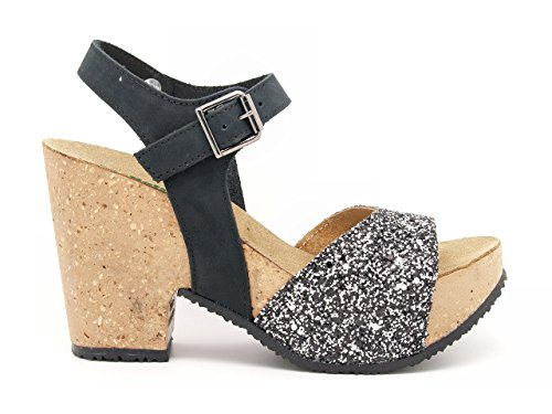 BioNatura sandali tacco glitter