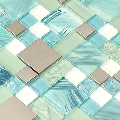 Hand Painted Ocean Blue Glass Tiles Silver Kitchen Mosaic Backsplash Stainless Steel Tile Crackle Chips Aqua Glass White Sheets Bathroom Wall Materials (1PCS Small Sample 2.8x5.9 Inches)