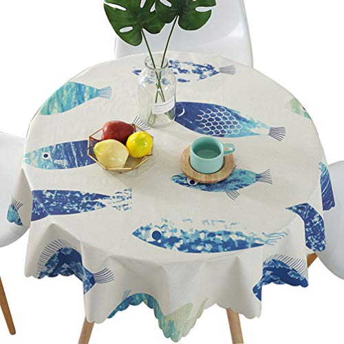 LEMON. Floral 100% Waterproof PVC Table Cloth, 50 Inch Vinyl Oil-Proof Spill-Proof Round Tablecloth, Wipeable Table Cover for Indoor and Outdoor Camping Picnic Circle Table Cloth(Blue Fish) (Round Wipeable Tablecloth)