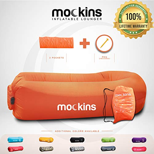 Mockins Orange Inflatable Lounger Hangout Sofa Bed with Travel Bag Pouch The Portable Inflatable Couch Air Lounger is Perfect for Music Festivals and Camping Accessories Inflatable Hammock ... ... ...