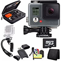 GoPro HERO+ LCD + Steadicam Curve for GoPro HERO Action Cameras (Black) + 64GB Memory Card + Case for GoPro HERO4 and GoPro Accessories + 6pc Starter Kit Bundle