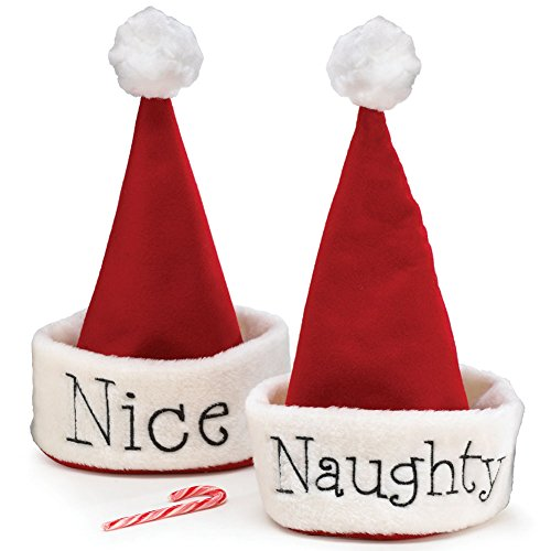 Dear Santa Santa Christmas Hat with Hand Stitched Naughty Or Nice Festive Holiday Hat