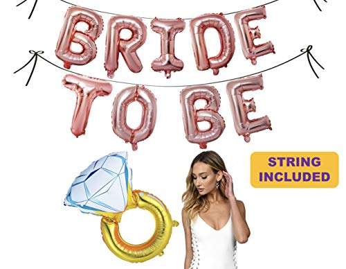 Bachelorette Party Balloons (Bachelorette Party Decorations and Bridal Shower Decorations Balloons - Bride to Be Party Supplies - Foil Diamond Ring, Backdrop and Banner (Rose Gold Bride to)