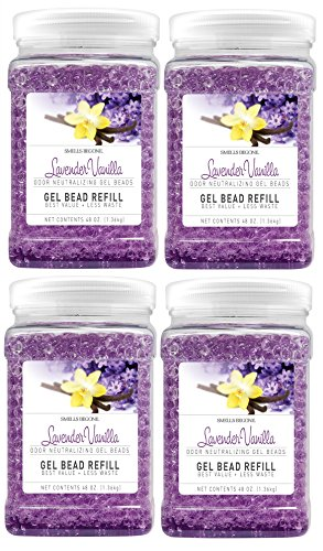 SMELLS BEGONE Odor Eliminator Gel Bead Refill - Air Freshener - Formulated with Natural Essential Oils - Lavender Vanilla Scent - 4 Pack (48 OZ) by Smells Begone
