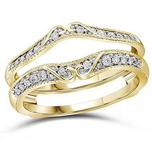 VBJewels 14k Yellow Gold Toned Alloy Antique Vintage Diamond Ring Guard Wrap Solitaire Enhancer 6.5